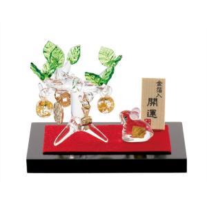 (送料無料)金箔入和硝子 干支(子・鼠・ねずみ)の置物「金のなる木と金の子(ねずみ)」金箔入 shopnext