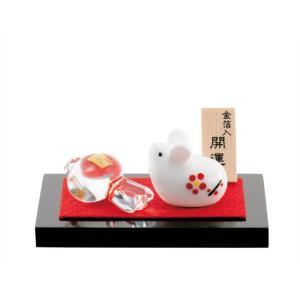 (送料無料)金箔入和硝子 干支(子・鼠・ねずみ)の置物「白ねずみと金小槌」金箔入 shopnext