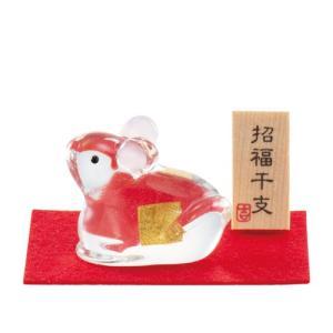 (送料無料)金箔入和硝子 干支(子・鼠・ねずみ)の置物「ケース入 金の子(ねずみ)」金箔入 shopnext