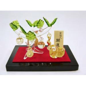 (送料無料)金箔入和硝子 干支(未)の置物 「金のなる木と金彩ひつじ」|shopnext