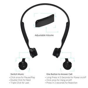 OVTECH 骨伝導ヘッドホン bluetooth イヤホン 後掛け式 調整型 通話可能 マイク付き 高音質 IOS/Android対応 日|shopnoa