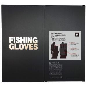 フィッシンググローブ 釣り用手袋 3本カット 秋冬用 (ブラック/グレー, L)|shopnoa