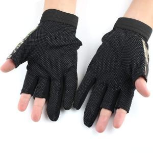 釣り用 手袋 迷彩 葉柄 フィッシンググローブ 指 3本 出し 釣道具 防寒 手袋 伸縮性・吸湿発散性 滑り止め|shopnoa