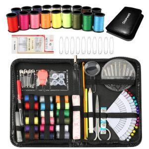 Qisiewell 裁縫セット プロ高級ソーイングセットポータブルミシンアクセサリー 携帯式コンパクト付き ブラック|shopnoa