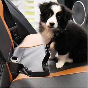 Leeko ペット用 犬 シートベルト 車専用リード 安全ベルト 長さ90cmまで調整可 簡単装着 飛びつく防止 犬 猫 兼用 ブラック|shopnoa