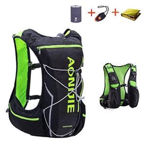 Triwonder 10L ハイドレーション バッグ リュック サイクリング ハイキング ランニング 自転車バックパック (ブラック&グリー|shopnoa