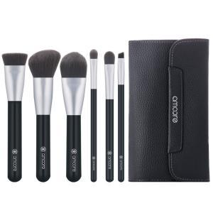 amoore 6本 化粧筆 メイクブラシ 化粧ブラック セット 粉含み抜群 化粧ポーチ付き (6本, ダークグレー)|shopnoa