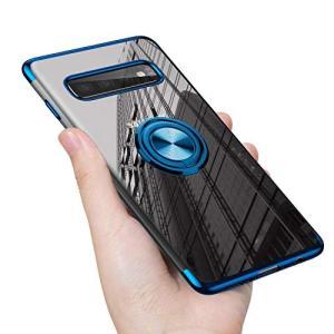 Samsung Galaxy S10+ ケース リング 透明 クリア リング付き tpu シリコン メッキ加工 スリム 薄型 スマホケース|shopnoa