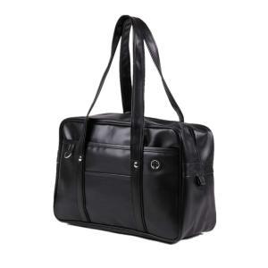 スクールバッグ 大容量 合皮 軽量 ボストンバッグ 多機能学生鞄 通学通勤 男女兼用 (ブラック) shopnoa