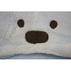 ノーブランド品赤ちゃん パイル フカフカ クマさん おくるみ (ブルー)