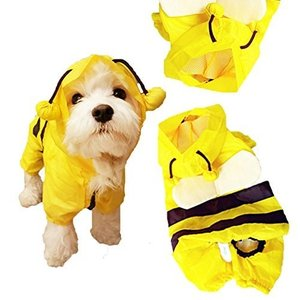 HaveGet 犬レインコート 小型犬 雨散歩 つなぎタイプ リード穴付き 帽子付き 犬用合羽 防水犬服 かわいい ワンチャン 雨の日犬お散|shopnoa