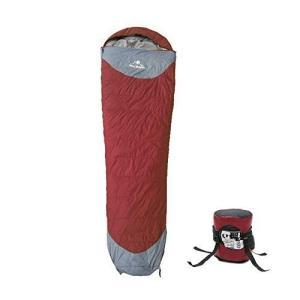 羽毛寝袋 ダウンシュラフ スリーピングバッグ マミー型 ワインレッド Lサイド 連結可能 ダウン1.5kg 最低使用温度-25度 快適温度0|shopnoa