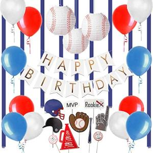 Easy Joy 野球テーマ 誕生日飾り付けセット 男の子 誕生日ガーランド フォトブーズプロップス アルミバルーン 紙提灯など ウオールス|shopnoa