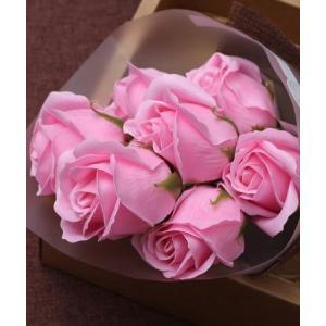 母の日 ソープフラワー 7本 カーネーション 薔薇 選べる石鹸の花束 ブーケ ギフト メッセージカー...