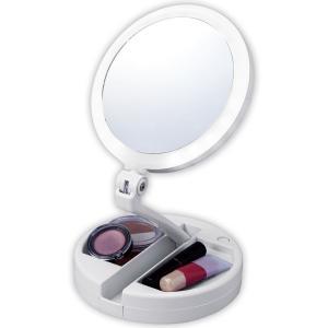 たためる10倍拡大鏡付きの2面ミラー(ライト付)|shoptakumi