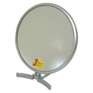 メリー 片面約3倍拡大鏡付折立ミラー CH-8740 シルバー|shoptakumi