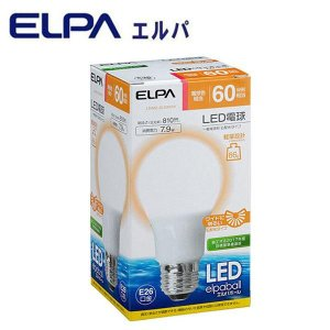 ELPA(エルパ) LED電球 60W形相当 電球色相当 LDA8L-G-G5016|shoptakumi