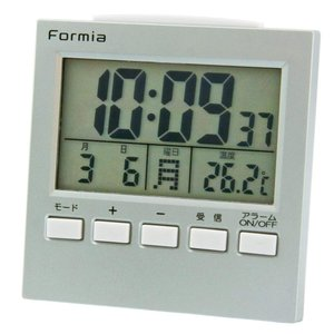 FORMIA デジタル電波目覚まし時計 バックライト付き シルバー HT-004|shoptakumi
