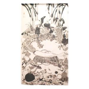 のれん 伊藤若冲 果蔬涅槃図 約85cm×約150cm (91276) shoptakumi