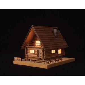 ウッディジョー ミニ木製建築模型 あかりシリーズ No.2 ログハウス 森の家 組立キット|shoptakumi