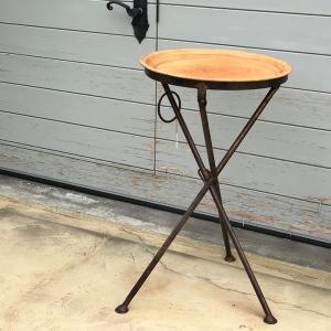 Leather ラウンドフォールディングテーブルS/ナチュラルブラウン|shopv