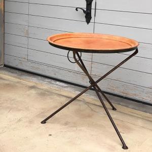 Leather ラウンドフォールディングテーブルM/ナチュラルブラウン|shopv
