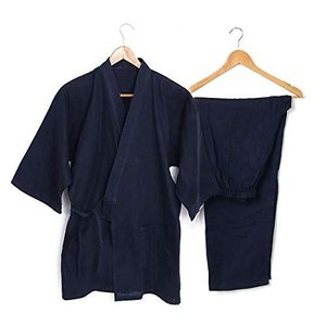 メンズ 作務衣 上下セット 軽量 薄手 綿100% 無地 さむえ 男性用 甚平 着物風 パジャマ 部屋着 ポケット付き 父の日 贈り物 (紺色, M) shopwin-win