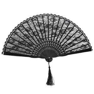 ROSENICE 竹製和風ハンドファン 扇子 レーストリム 黒 shopwin-win