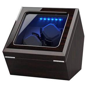 INCLAKE ワインディングマシーン腕時計自動巻き器ウォッチワインダー2本巻き上げ,中に LED ライト付き, 蓋を開ける時、作業が中止されますので|shopwin-win