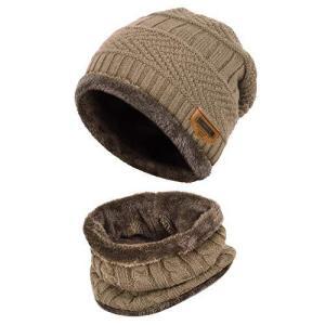 VBIGER 暖かい ニット帽子&ネックウォーマー キャップ セット防寒 保温 スキー スポーツ アウトドア 冬 (A-カーキ) shopwin-win