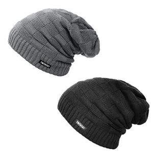 二枚セット ニット帽 シルエットがきれい メンズ レディース 男女兼用 裏起毛 ニットキャップ スノボ などにも (グレー+ブラック) shopwin-win