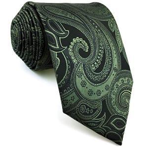 SHLAX&WING メンズ ネクタイ ペイズリー模様 メンズ 濃い グリーン シルク 147cm shopwin-win