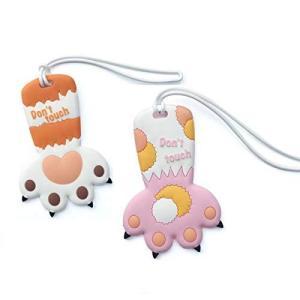 猫の爪 荷物ネームタグ 紛失防止 2枚入り シリコン スーツケースタグ 猫型 バッグ用ネームタグ ネームプレート 番号札 出張 旅行対応カバン装飾|shopwin-win