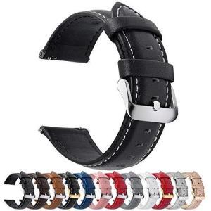時計バンド ベルト、Fullmosa 全12色スマートウォッチバンド ベルト 腕時計バンド 交換ベルト本革 レザー16mm ブラック+シルバーバックル|shopwin-win