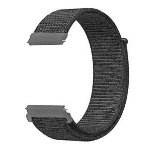 AIGENIU 時計バンド 柔らかく ナイロン ループ バンド 取付幅20mmのスマートウォッチと伝統的な腕時計交換用バンド (20mm, ブラック)|shopwin-win