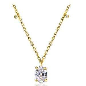 DAZZARRY ジルコニア 925純銀製 ネックレス 上品 レディース ゴールドチェーン付 ギフトラッピング クリスマス プレゼント アクセサリー shopwin-win