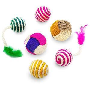 YATDA 猫 おもちゃ 猫 ボール 噛むおもちゃ 麻縄 ボール 運動不足やストレス解消 ダ イエット レーニングなど 猫遊び用 (色組み合わせ) …|shopwin-win