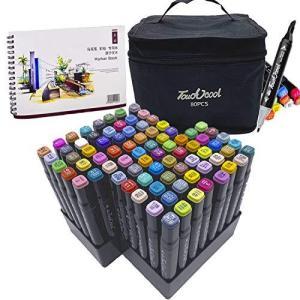 L-JUWA マーカーペン イラストマーカーペン 水彩ペン コピックペン 80色セット ペンスタンド スケッチブック付き 太細両端 塗り絵、描画、落書 shopwin-win