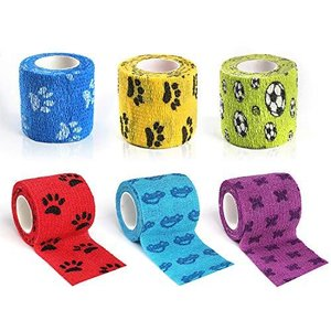 6種セット ペットフレックス 包帯 犬用 猫 バンテージ 多機能 怪我 傷舐め防止 保護 自着性伸縮包帯 5cm x 4.5M|shopwin-win