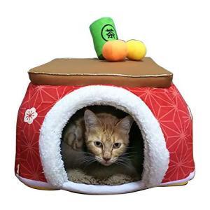 犬 ハウス ペットパラダイス 【犬・猫 用】 こたつハウス 梅 麻の葉 (40cm) あたたかい 保温防寒 寒さ対策 犬 猫 寝床 コード穴付き|shopwin-win