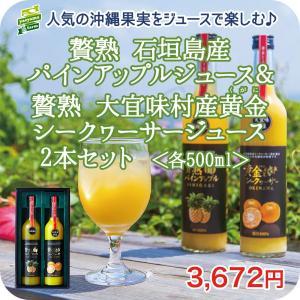 贅熟 石垣島産パインアップルジュース&贅熟 大宜味村産黄金シークヮーサージュース 2本セット果汁 国...