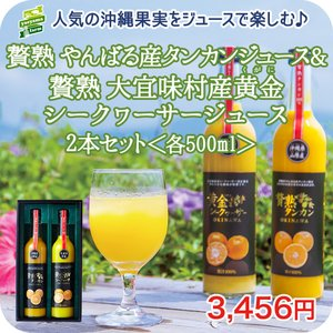 贅熟 やんばる産 タンカン & 大宜味村産 黄金(くがに) シークヮーサー ジュース 500ml 2...