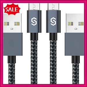 Syncwire Micro USB ケーブル 2m 【2本セット】マイクロusbケーブル (3重編込の高耐久ナイロン素材 / 急速充電/高速デ|shopyamamoto
