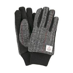 ハリスツイード 手袋 スマホ タッチパネル対応 ジャージ グローブ グレーチェック Lサイズ