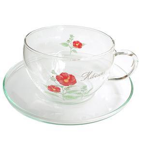ガラスカップ&ソーサーGCS-1型 ハイビスカス柄|shopyuwn
