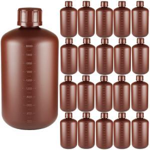 ポリ容器 中栓有り1Lサイズ×20本 茶色 詰め替え用 小分け液体保存 遮光ボトル ポリ容器 業務用サイズ 1リットル 保存容器 大容量1000mlサイズ 軽量遮光容器|shopyuwn