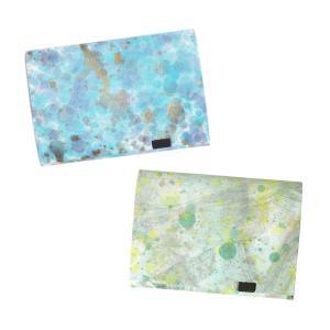 財布 二つ折り 三つ折り メンズ レディース 牛革 所作 ショート1.0 印象派 ブルー&ミント|shosa-nonoyes