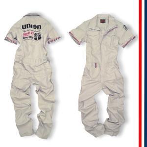 76Lubricants(ユノカル76)ショートスリーブカバーオール(半袖ツナギ)細身のヨーロピアンStyle、シルバーグレー|shouei-st