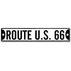Route.66(ルート66)アルミサインプレート「RT.66 STREET SIGN - WHITE」|shouei-st