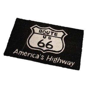 Route.66(ルート66)室外玄関用ココナッツフロアマット、四角タイプ、ブラック|shouei-st